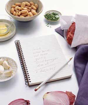 A notepad and ingredients