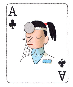 Illustration of a playing card with a doctor pictured