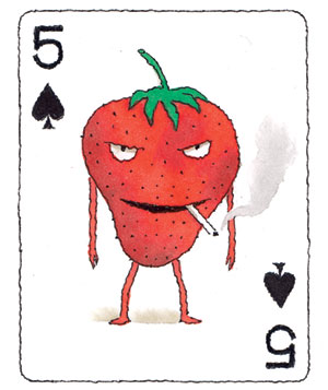 Illustration of a playing card with a strawberry