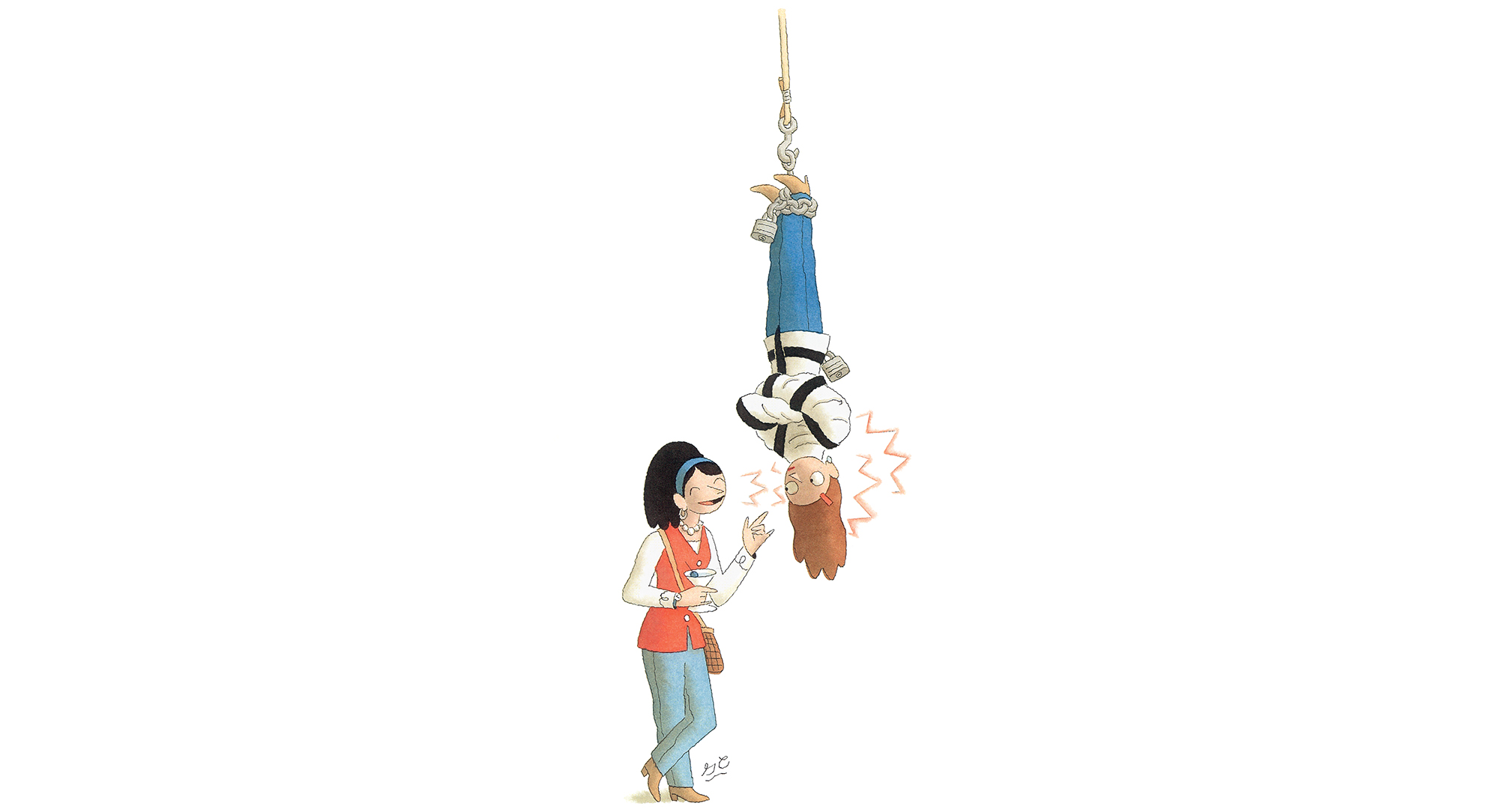 Cartoon woman hanging upside down