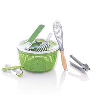 A whisk, a salad spinner, and more kitchen tools