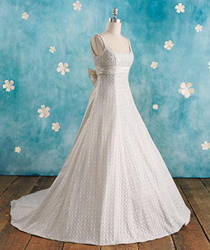 Chantilly lace gown with silk slip wedding gown