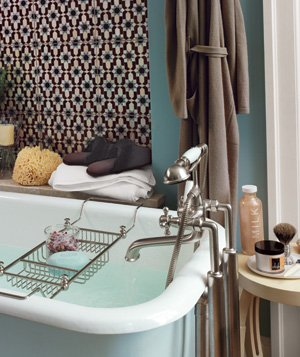 Something as simple as an over-the-tub wire rack devoted to bathing goods adds a nice touch (and extra convenience).