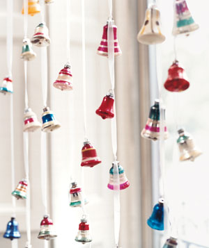 Vintage Bells as Modern Window Treatment