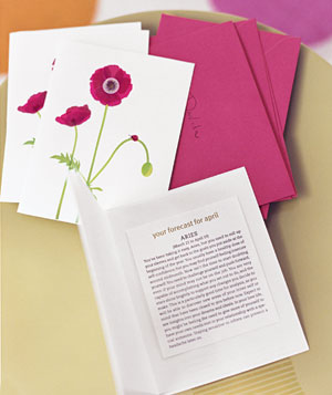 Floral print card with horoscope inside