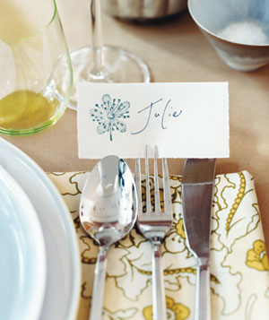 Place card at table setting