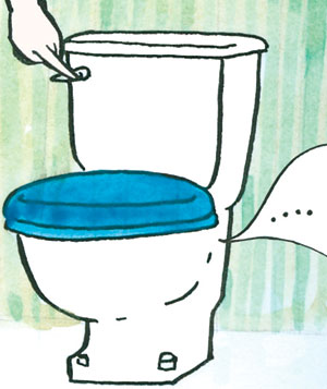 An illustration of a woman flushing a toilette