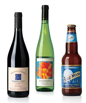 Wine and beer for a casual summer dinner