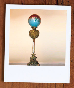 Victorian lamp with hand-painted glass globe