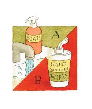 Illustration of soap and hand wipes