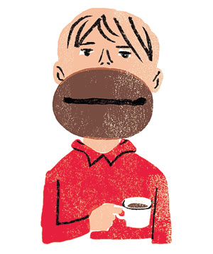 Illustration of a man with coffee breath