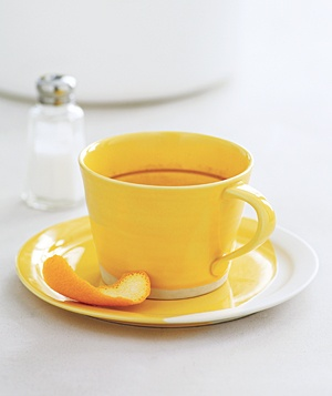 Cup of tea and citrus peel