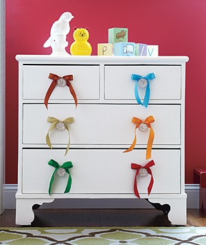 Dresser with ribbons as drawer pulls