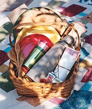 Basket filled with apple-picking supplies
