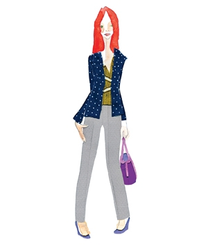 Illustration of a woman wearing mid-rise pants