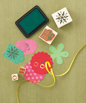 Make your own holiday gift tags with playful stamps and colored ink.