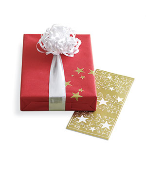Gift decorated with star stickers