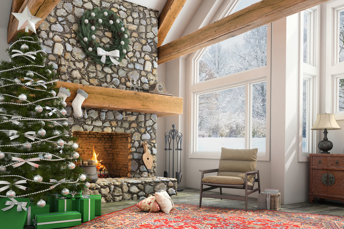 Cozy Winter Living Room with fireplace