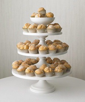 Cream puffs on a tiered pastry stand