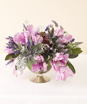 Centerpiece of purple parrot tulips