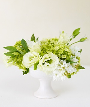 Centerpiece of white lisianthus