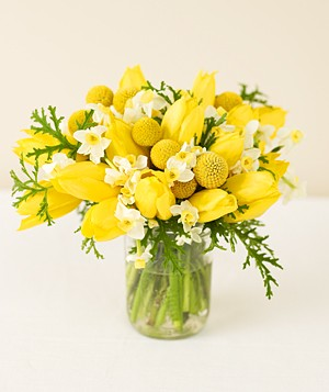 Centerpiece of yellow tulips
