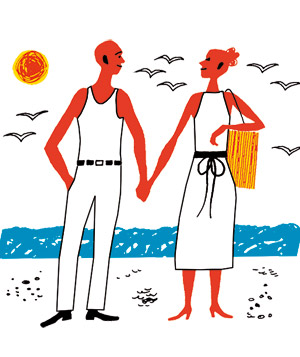 Illustration of a couple on a beach