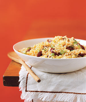 Rice Pilaf with Chorizo and Scallions
