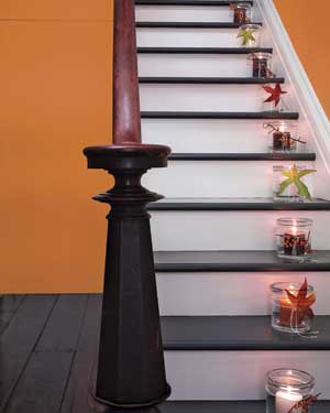 Candles along a staircase