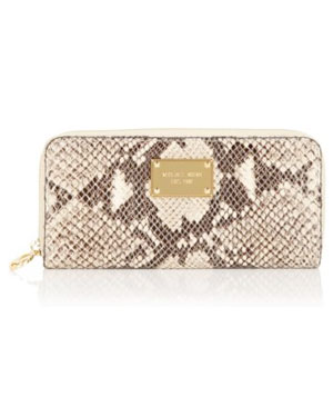 Python-Embossed Leather Wallet by Michael Kors