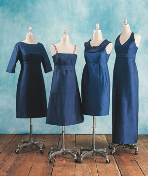 Bridesmaid dresses in the same color and different styles