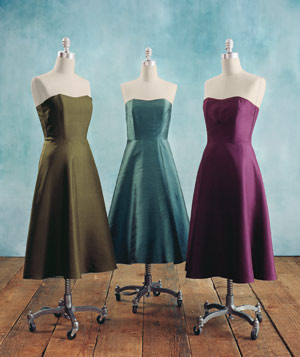 Bridesmaid dresses in the same style and complementary colors