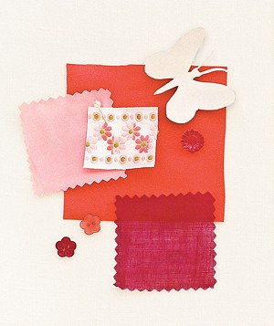 Pink, coral, and red fabric swatches