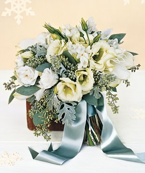 Bouquet of dusty miller, lisianthus, and narcissus