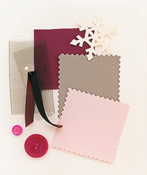 Brown, magenta, and pink fabric swatches