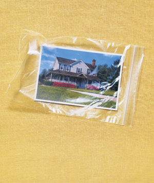Photo of a house in a plastic bag