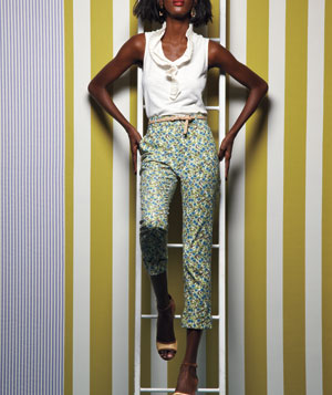 Model wearing Karen Walker floral cotton pants