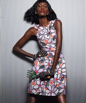 Model wearing floral Milly cotton dress