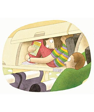 Woman in overhead compartment