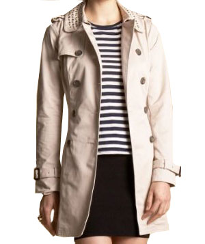 Studded Twill Trench by Bebe