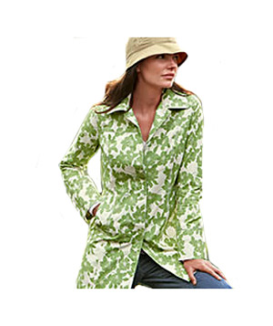 Eddie Bauer's Printed Christine water-repellant polyester trench coat