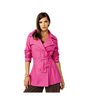 Spiegel hot pink hip-length cotton-and-nylon trench coat