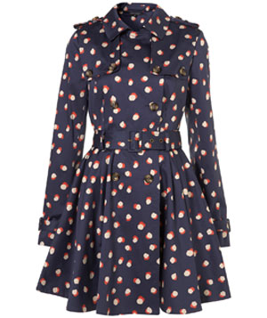 Navy Smudged Spot Printed Trench Coat by Topshop