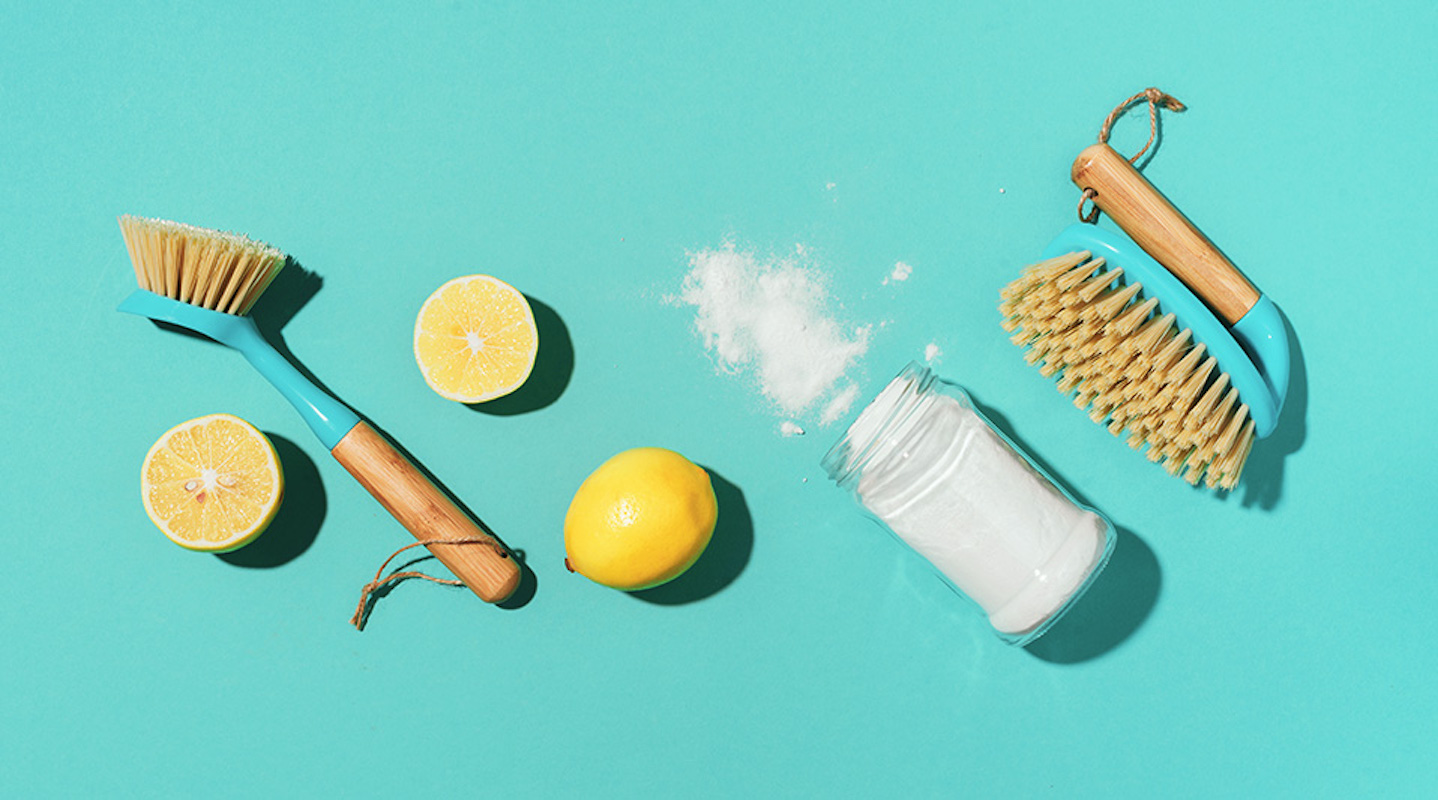 All-Natural Cleaning Solutions, lemon and salt and brushes
