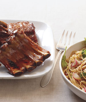 Asian Baby-Back Ribs With Udon Salad