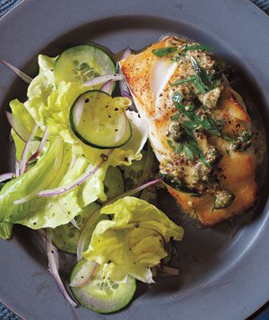 Pan-Fried Cod With Mustard-Caper Sauce