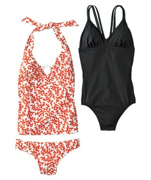 Old Navy halter coral tankini and Converse One Star one-piece swimwear