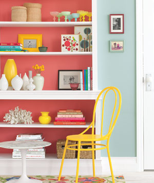 Bookcase, table, and chair