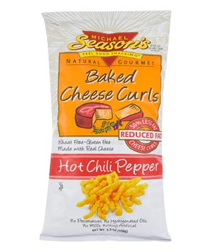 Natural Gourmet Michael Season's Baked Cheese Curls in hot chili pepper