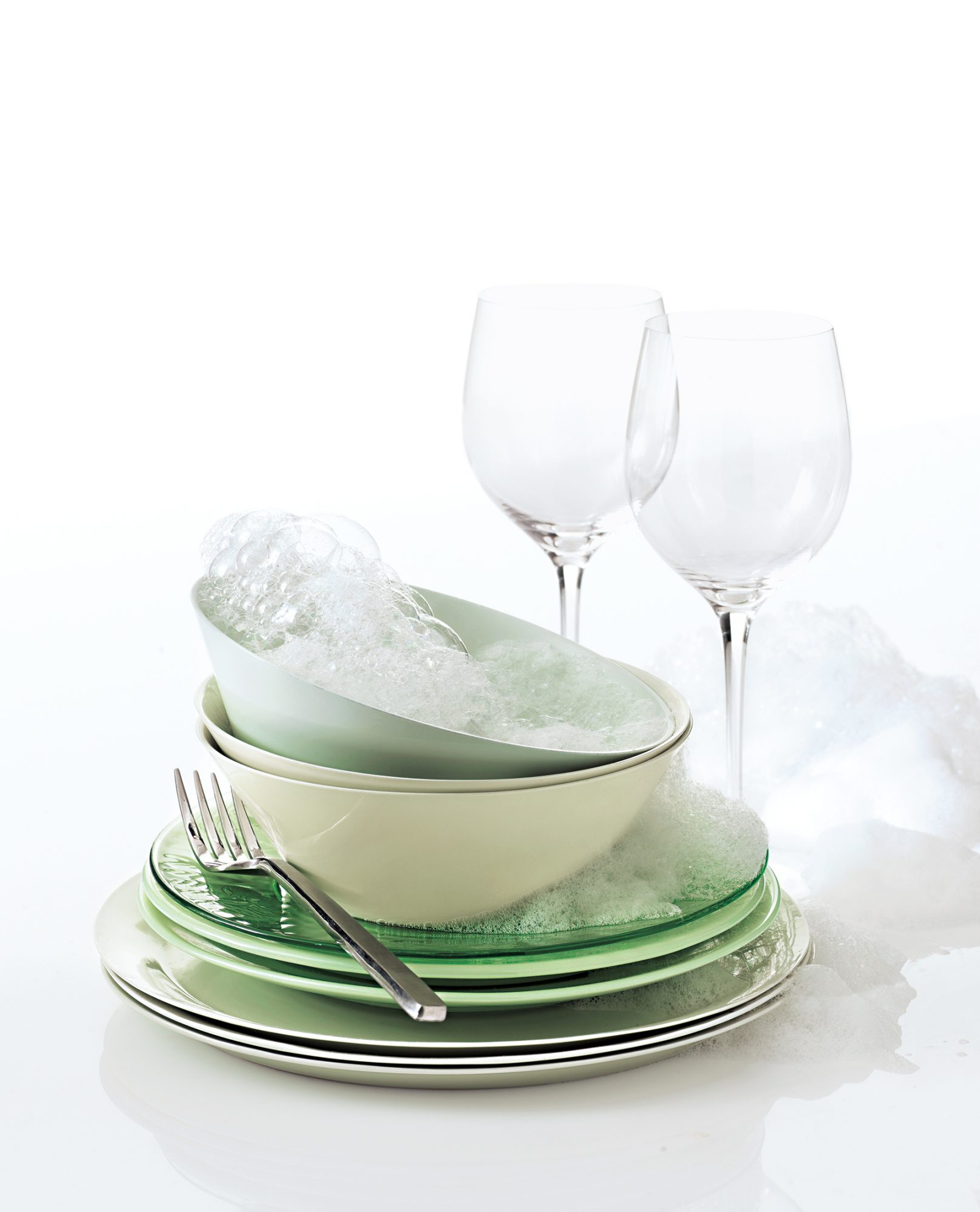 Dishes with soapy water